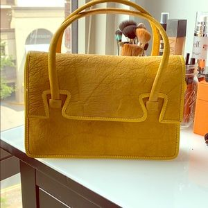 Handbags - Mustard color  Italian leather handbag